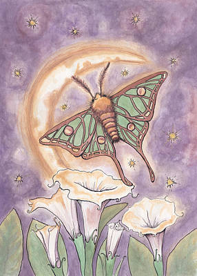 Moth And Moonflowers Art Print
