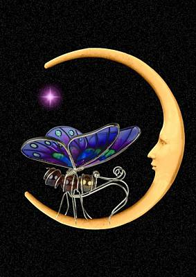 Digital Art - Moth On Moon by Ed Lukas
