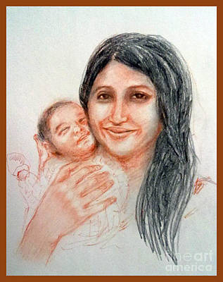 Painting - Mother And Baby by Asha Sudhaker Shenoy