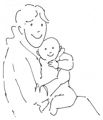 Drawing - Mother And Baby Cartoon by Mike Jory