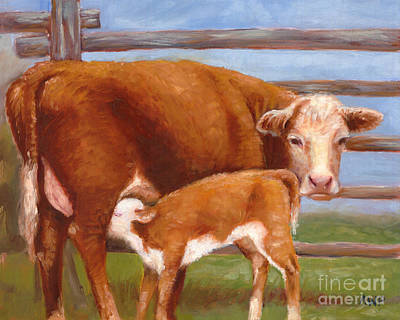 Painting - Mother And Baby Cow by Audrey Peaty