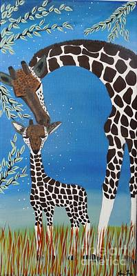 Mother And Baby Giraffe Painting - Mother And Baby Giraffe by Jean Fry
