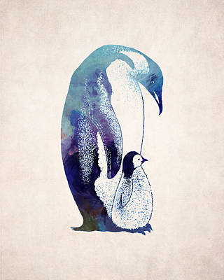 Penguin Digital Art - Mother And Baby Penguin by World Art Prints And Designs