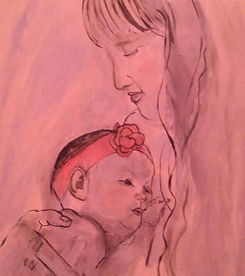 Cradling Painting - Mother And Baby Pretty In Pink by Amanda Roberts
