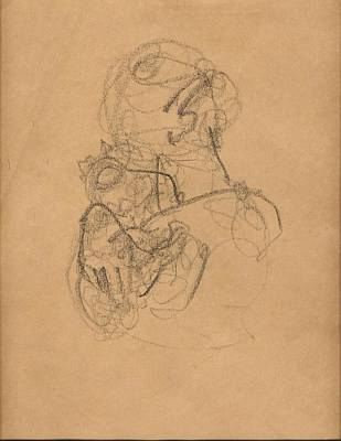 Hands Of Love Drawing - Mother And Baby With Bonnet by Mary Adam
