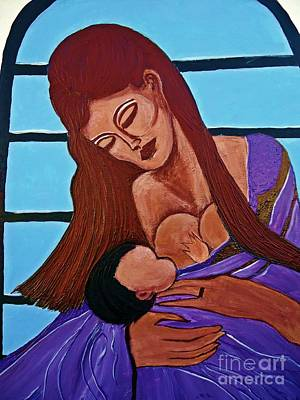 Painting - Mother And Child 2 Xl by Saundra Myles