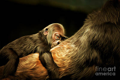 Gorilla Digital Art - Mother And Child 20150210brun by Wingsdomain Art and Photography