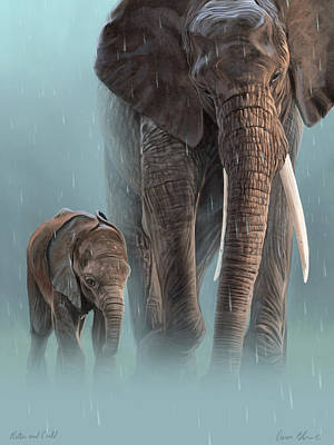 Animals Digital Art - Mother And Child by Aaron Blaise