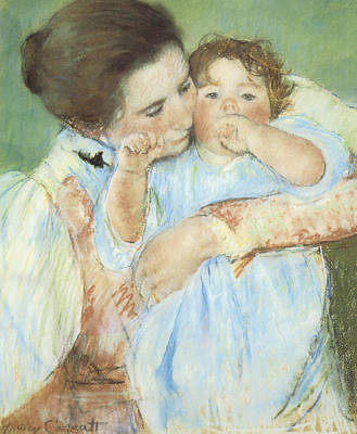 Mother And Child Against A Green Background Print by Mary Cassatt