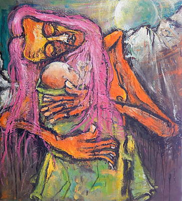 Painting - Mother And Child Before Landscape by Kenneth Agnello