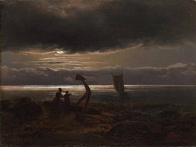 Mother And Child By The Sea Art Print by Johan Christian Claussen Dahl