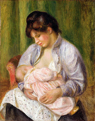 Feeding Young Painting - Mother And Child by Pierre Auguste Renoir