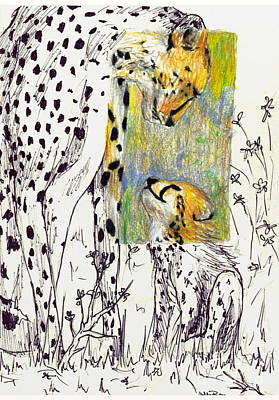 Cheetah Drawing - Mother And Child Cheetah by Ashley Bauer
