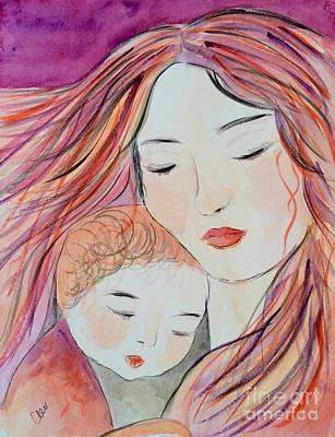 Abstract Mother And Child Painting - Mother And Child by Christina Arsenis