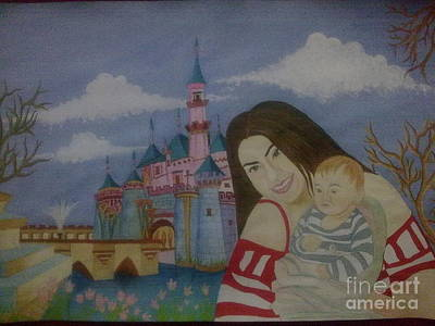 Syeda Ishrat Painting - Mother And Child In Disney by Syeda Ishrat