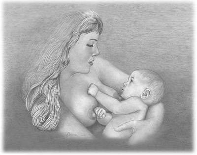 Drawing - Mother And Child by Joe Olivares