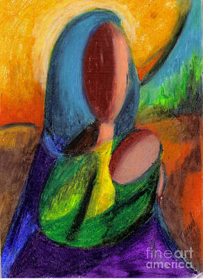 Art Print featuring the pastel Mother And Child by Karen  Ferrand Carroll