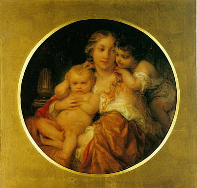 Mother And Child Art Print by Paul  Delaroche