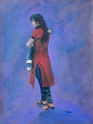 Indian Painting - Mother And Child by Usha Shantharam