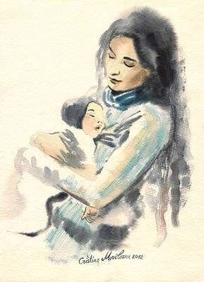 Bonding Painting - Mother And Child Watercolor Painting by Cristina Movileanu