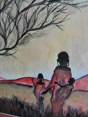 Mother And Children Walking In Kenya Art Print
