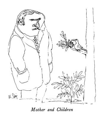 Mothers Day Drawing - Mother And Children by William Steig