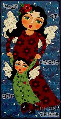 Folk Art Angel Painting - Mother And Daughter Angels by LuLu Mypinkturtle