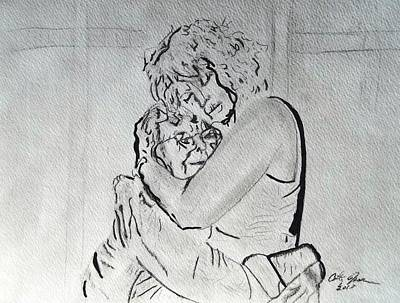 Drawing - Mother And Daughter by Cathy Jourdan