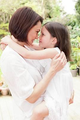 Mother And Daughter Hugging Art Print