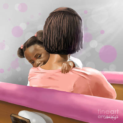 African-american Digital Art - Mother And Daughter In Church by Josh Kennedy