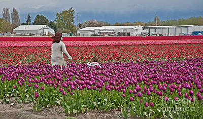 Photograph - People In Tulip Fields Art Prints by Valerie Garner