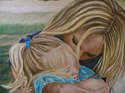 Portrait Drawing - Mother And Daughter by Kathryn Rose