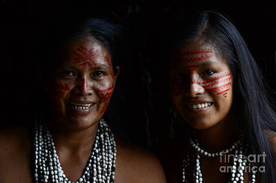 Amazon River Photograph - Mother And Daughter Of The Amazon by Bob Christopher