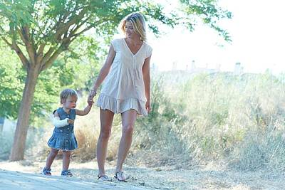 2-3 Years Photograph - Mother And Daughter On Path by Ruth Jenkinson