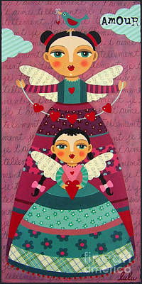 Folk Art Angel Painting - Mother And Daugther Angels With Hearts by LuLu Mypinkturtle