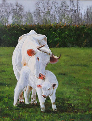 Mother And Her Calf Print by Lepercq Veronique
