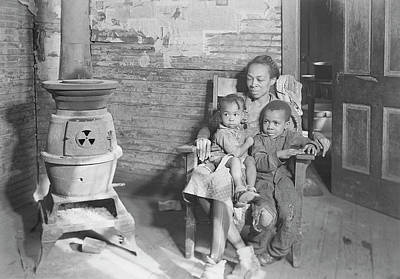Old Wood Burning Stove Photograph - Mother And Her Two Children Sitting by Stocktrek Images
