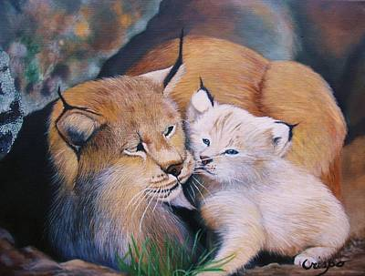 Mother And Kitten Bobcat Art Print