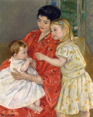 Mother And Sara Admiring The Baby Art Print by Marry Cassatt