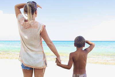 Mother And Son At Beach Print by Kicka Witte