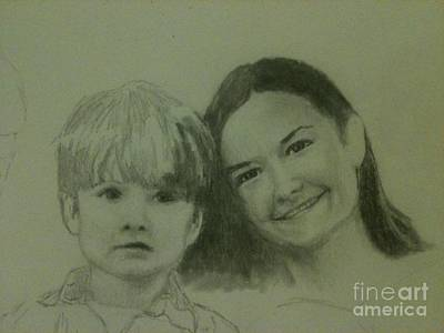 Drawing - Mother And Son by Frankie Thorpe