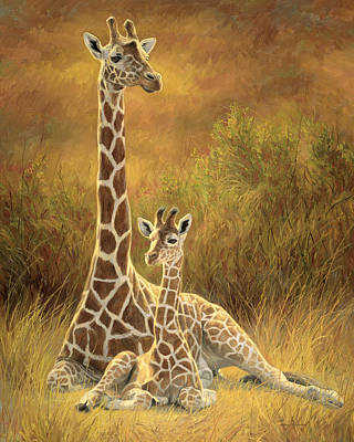 Giraffe Painting - Mother And Son by Lucie Bilodeau