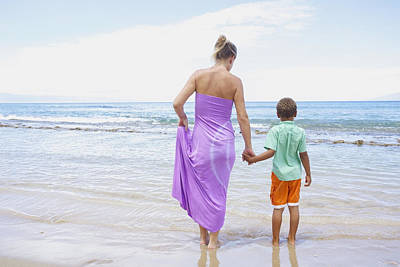 Mother And Son On Beach Art Print by Kicka Witte