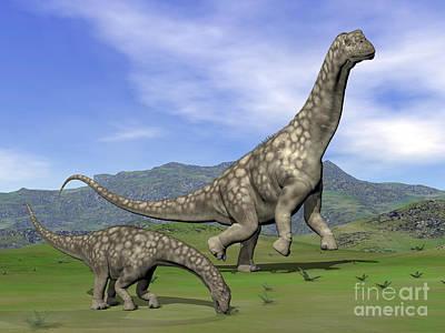 Caring Mother Digital Art - Mother Argentinosaurus Dinosaur by Elena Duvernay