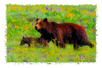 Photograph - Mother Bear And Cub In Meadow by Jerry Cowart
