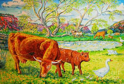 Mother Cow And Bull Calf Original