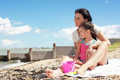 Mother Daughter On Beach Art Print by Ian Hooton