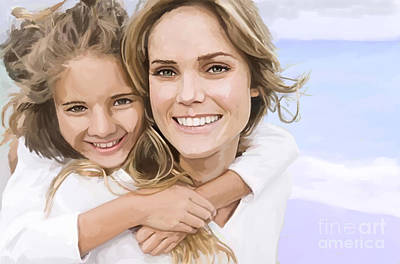 Painting - Mother Daughter Portrait   by Tim Gilliland