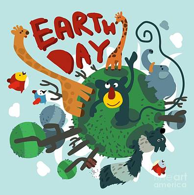 Monkey Wall Art - Digital Art - Mother Earth Day. Vector Illustration by Maraga
