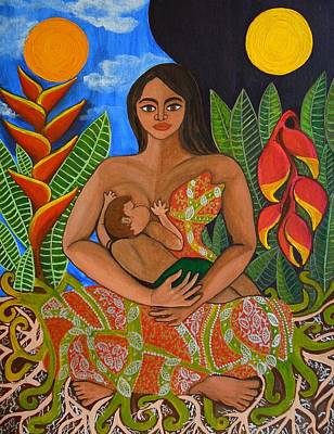 Breastfeeding Painting - Mother Earth - Nourish  by Jennifer Mourin